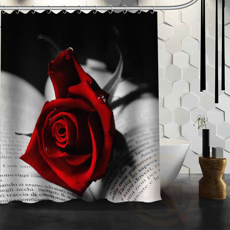 Best Nice Custom Red Roses Flower Shower Curtain Bath Waterproof Fabric For Bathroom MORE SIZE WJY32 In Curtains From Home Garden On
