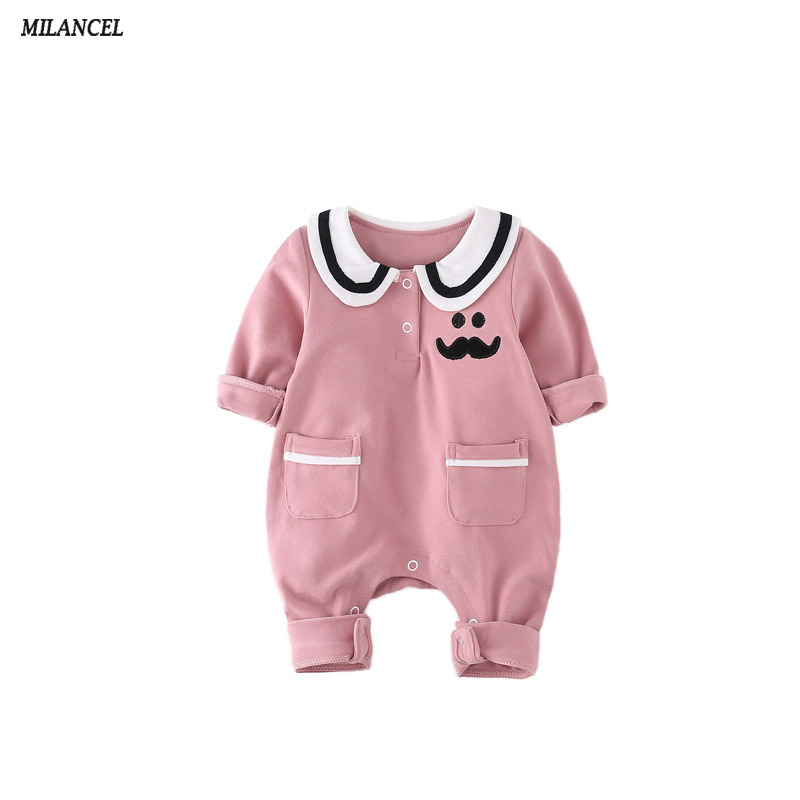 Milancel 2017 New Baby Rompers Autumn Boys Clothes Beard Print Girls Rompers Long Sleeve Boys Jumpsuits Newborn Baby Clothing cotton baby rompers set newborn clothes baby clothing boys girls cartoon jumpsuits long sleeve overalls coveralls autumn winter
