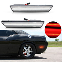 2x Clear Lens Rear Side Marker Lamps with 24 SMD Red LED Lights For For 08 14 Dodge Challenger,11 14 Charger