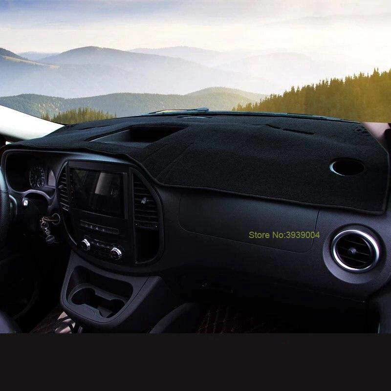 Noir Tapis De Planche De Bord Couverture Dashmat Tableau de Bord Tapis De Soleil Couverture De Voiture Intérieur Dash Couverture Pour Mercedes Benz Vito 2016-2017 - 3