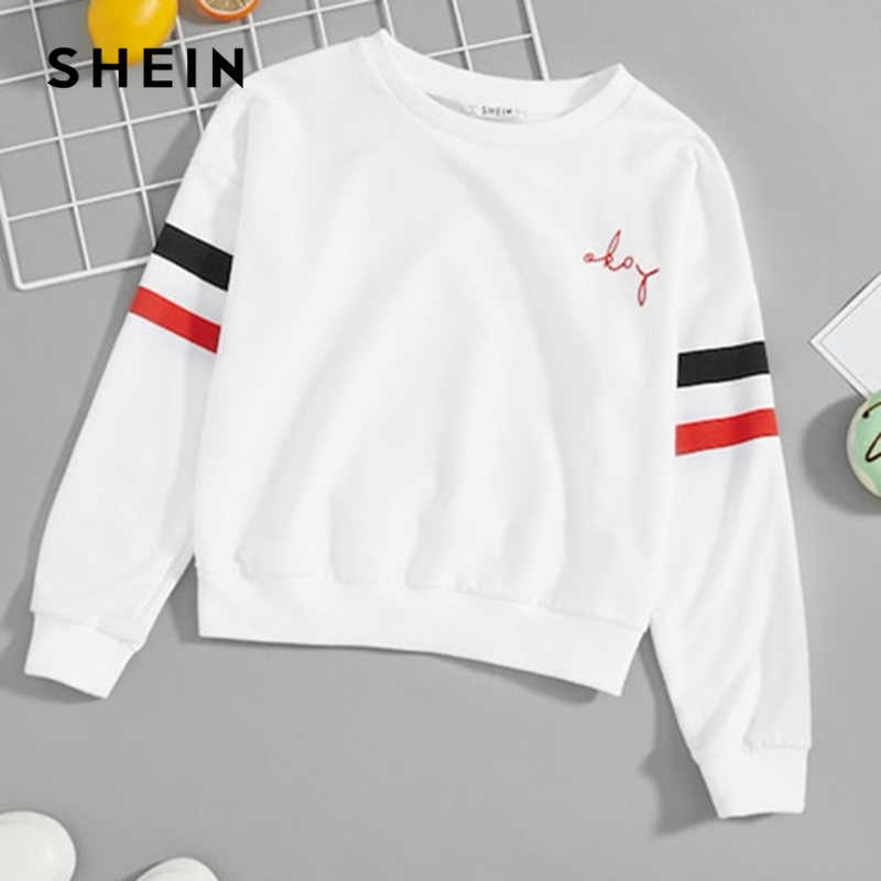 SHEIN Kiddie White Striped Side Children Preppy Sweatshirts Girls Tops 2019 Spring Streetwear Long Sleeve Kids Casual Pullovers contrast striped side sweatpants
