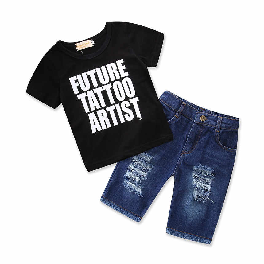 Baby Boys Clothes Set Summer Black T-shirt Tops Shorts jeans Toddler Suit