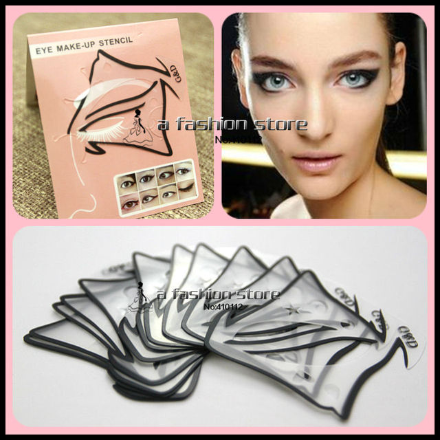 10 pcs/lot 7 style in 1 set Quick Makeup Cat Eyeliner Smokey Eyeshadow Drawing Guide Reusable Stencil Classic Eye Line Template