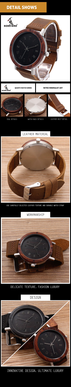 Watch Men Leather Strap Wooden Watches Luxury Wood Wristwatches relogio masculino C-K06 (14)