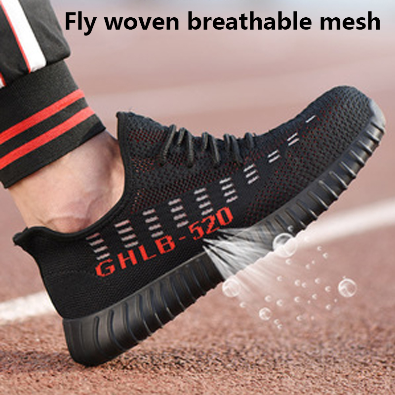 Summer Breathable Lightweight Breathable Men 39 s Safety Shoes Anti mite Construction Sports Shoes Outdoor Deodorant Work Boots in Work amp Safety Boots from Shoes