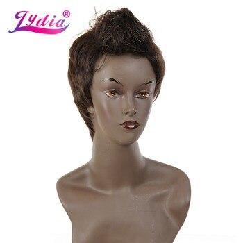 Lydia Mâle Perruque Synthétique Droite Courte Brun Foncé Nature Pleine Perruques Résistant À La Chaleur Pour Hommes Garçon Afro-Américain Cheveux Extensions