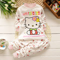 Детские девушки cloting набор 2 шт. высокое качество хлопка Мультфильм Hello KITTY детская одежда девушки одежда набор Детей bebes одежду набор