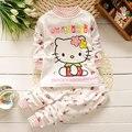 Meninas do bebê cloting set 2 pcs algodão de alta qualidade Dos Desenhos Animados Olá KITTY roupas de bebê meninas roupas set Crianças roupas de bebes conjunto