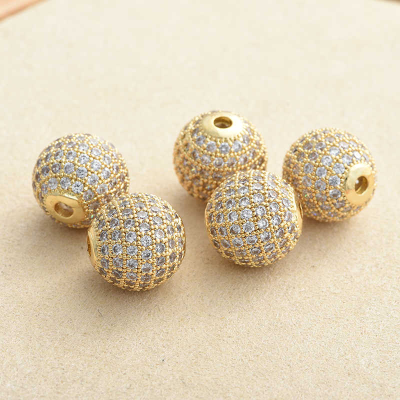 ESPACIADOR abalorios redondos de 6mm/8mm/10mm para DIY hallazgos de joyería cuentas redondas de cobre Zirconia cúbica para hacer joyería