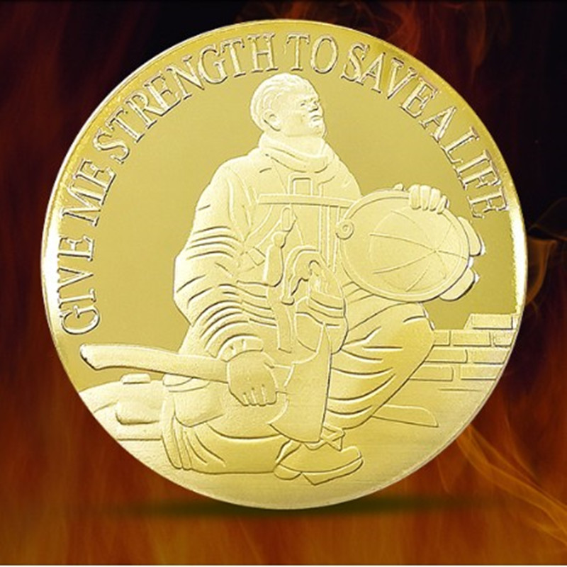 100 pcs Non magnetic American Fireman's prayer GIVE ME STRENGTH TO SAVE A LIFE gold plated 40 mm souvenir collectible metal coin