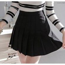 Women Elegant Half  Pleated Mini Skirts High Waist Casual American School Style Fashion Girls Leggings Skirt