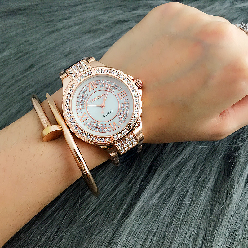 2017 Montre Watch Femme Top Brand Contena Luxury Fashion Ladies Women Rhinestones Full Logo Watches Quartz Mujer Crystal Relojes tezer ladies fashion quartz watch women leather casual dress watches rose gold crystal relojes mujer montre femme ab2004
