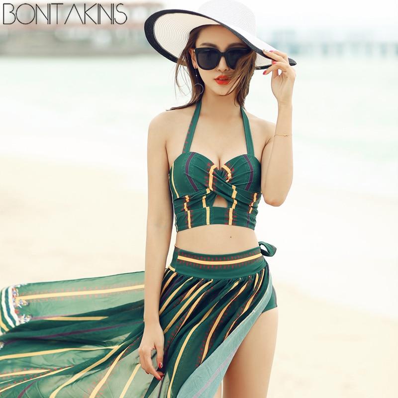 Bonitakinis haute qualité maillot de bain rayé imprimé petite poitrine asie maillots de bain vacances d'été trois pièces Bikini ensemble