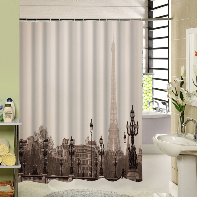 Eiffel Tower Paris Shower Curtain Water Repellent Cloth Bathroom Quality Product For Home Decor Accessory