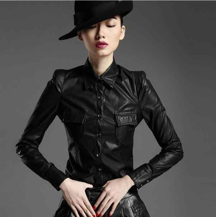Women's Fashion  Faux Leather PU Elegant Shirts Blouse long-sleeved blouse pu leather shirt