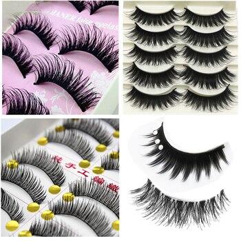 5 Par/lote Cruzam Pestanas Falsas Eye Lashes Volumosa Maquiagem Longo Grosso Falso Cílios Extensões de Maquiagem Cílios Falsos