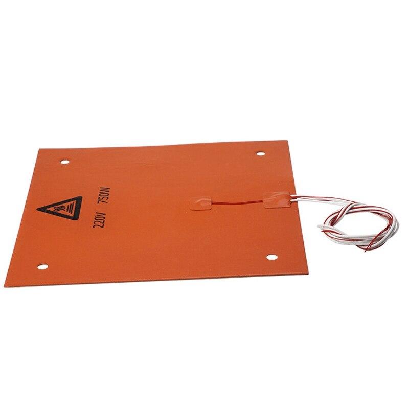 750w 220v 31*31 cm peças de impressora 3d & acessórios silicone cama aquecida cor laranja almofada aquecimento para CR-10 3d impressora cama buracos