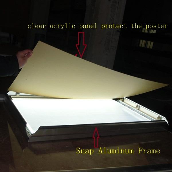 US $480 0  A2 Poster Size Snap Frame LED Backlit Light Box Single Side Gold  Frame Colour-in Advertising Lights from Lights & Lighting on