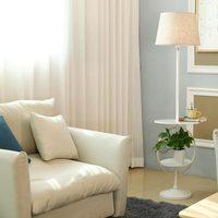 Modern White Floor Light Fixtrues For Living Room Foyer Loft Standing Lamps Fabric Lampshade Decor Home Lighting Black Iron E27