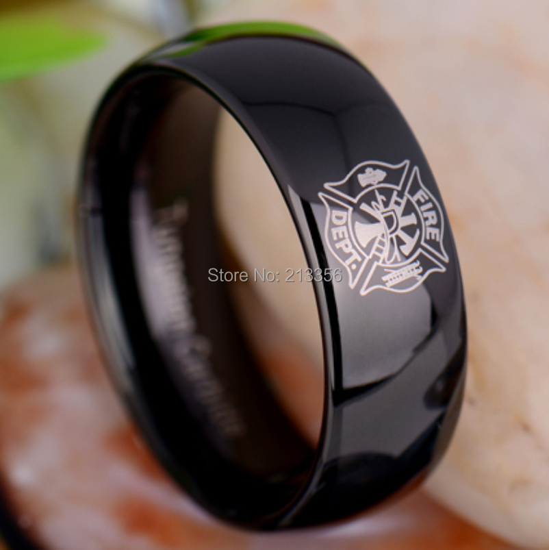 usa hot sales ec tungsten luxury jewelry 8mm fireman firefighter fire police black dome new tungsten wedding ring in rings from jewelry accessories on - Firefighter Wedding Rings