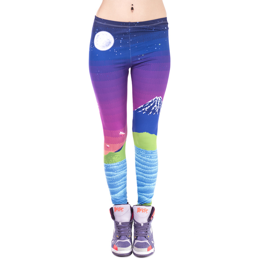 Women Legins Pixel Fuji Printing Fashion Night View Legging Sexy Woman Leggings