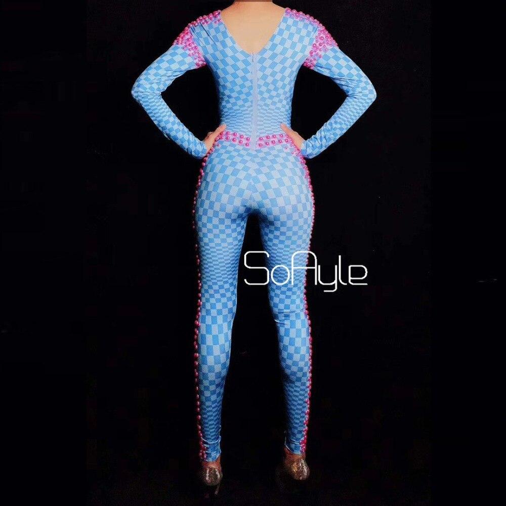 Défilé Costume Acrobaties Salopette Soayle Modèle Longue Headdress Anneau Base Scène Chanteuse Dj No Bleu Stretch Voiture Rose qCSAOEO4nw