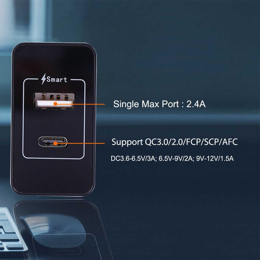 SUMPK USB Loại C Tường Sạc Nhanh USB Loại C Di Động Sạc điện thoại PD Sạc Điện Thoại cho iphone 8 X Samsung Galaxy S9