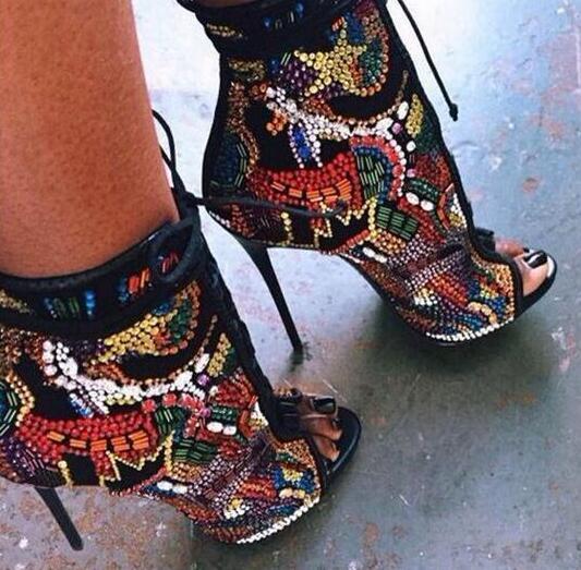 Cristal Brillante Gladiador Botas Abesire Peep As Toe 2019 Tacones Tobillo Pictures Zapatos botas Sandalias Encaje Mujer De Chicas qSxwIEp