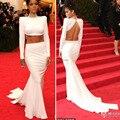 86a Oscar Red Carpet Dress inspirado por Rihanna alta perlas cuello Backless capilla tren de manga larga de dos piezas de la celebridad vestidos