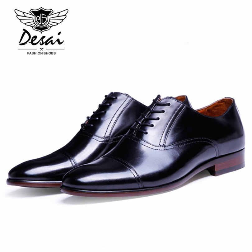 DESAI Marka Tam Tahıl Deri İş Erkekler Elbise Ayakkabı Retro Patent Deri Oxford Ayakkabı Erkekler Için Boyutu AB 38- 47