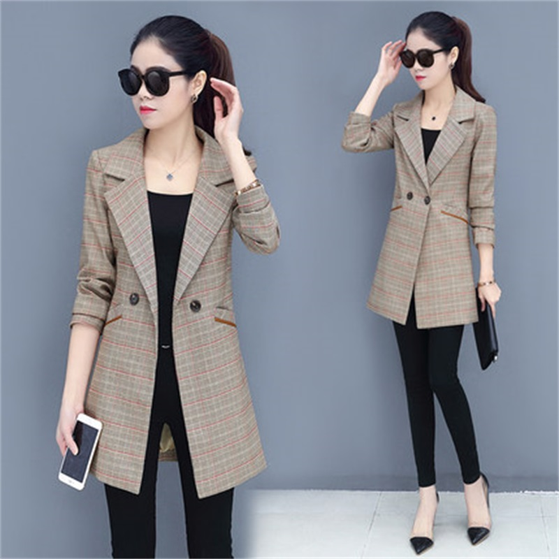 Long section Casual grid women suits blazer Lady office suits blazer female autumn gray formal jackets pocket button suits