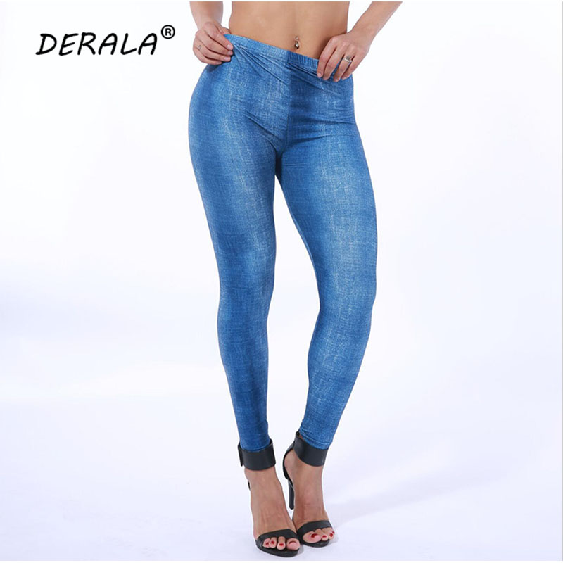 DERALA 2018 NEW Women Low Waist Sanded Denim   Leggings   Jeans Legins Pants High Elastic Stretchy Pencil Trousers in Free Size