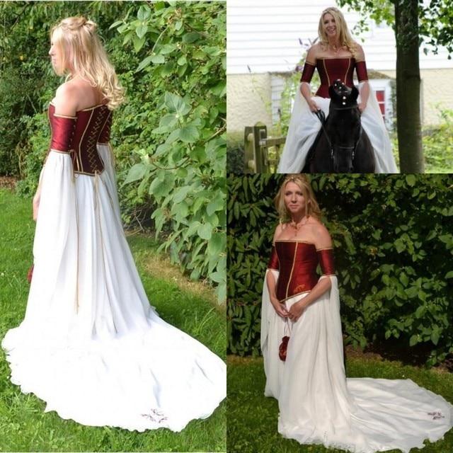 1388b771686 Renaissance Medieval 2017 Wedding Dresses A Line Burgundy White Strapless  Long Sleeves Corset Chiffon Bridal Gowns Cheap