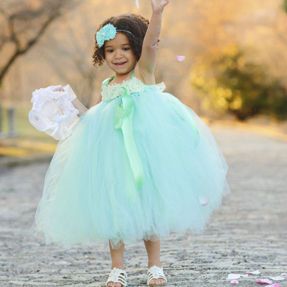 Princess Mint Green Girl Flower Tutu Dress with Cute Flower headband ...