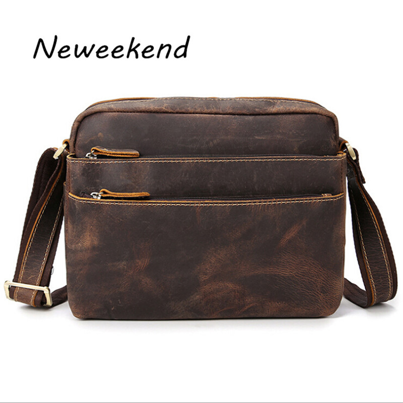 NEWEEKEND 98601-1 Vintage Genuine Leather Crazy Horse Slight Soft Zipper Pockets Shoulder Crossbody Messenger  iPad Bag for Man neweekend 1005 vintage genuine leather crazy horse large 4 pockets camera crossbody briefcase handbag laptop ipad bag for man
