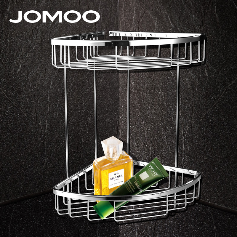 JOMOO Brass Chrome bathroom corner shelf basket Bathroom Shelves holder wall mounted Shower Shampoo Soap Cosmetic Accessories thick aluminum 3 layer bathroom corner shelf wall washing shower basket shelves storage with hooks bathroom accessories 8115a16