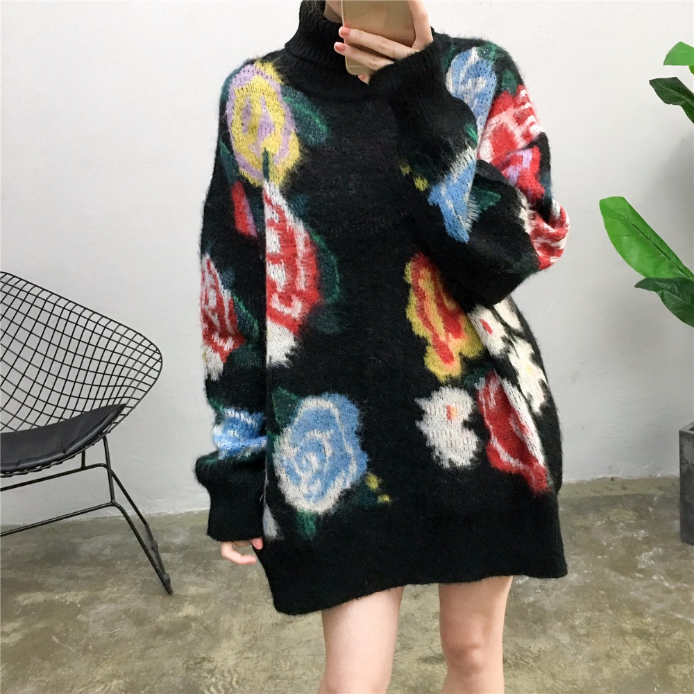 Rose floral turtleneck mohair lazy sweater women elegant knitted pullovers 2018 new arrivals 2colors S M