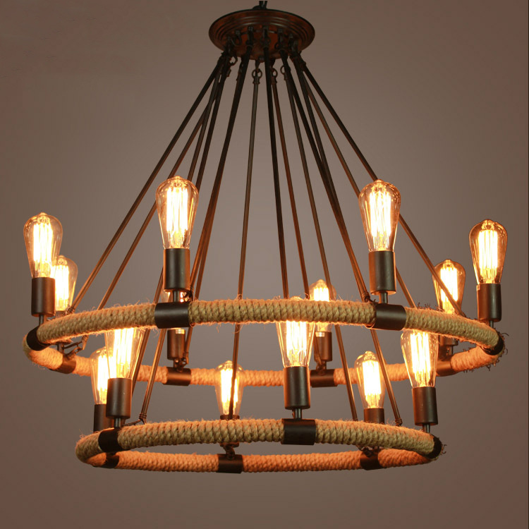 American Country Style Retro Round Shape Wrought Iron Hemp Rope Pendant Light Hanging Lamp Suspension for Bar Cafe Restaurant american retro loft wrought iron hemp rope pendant lights round wheel iron lamp e27 with edison bulbs for cafe restaurant bar