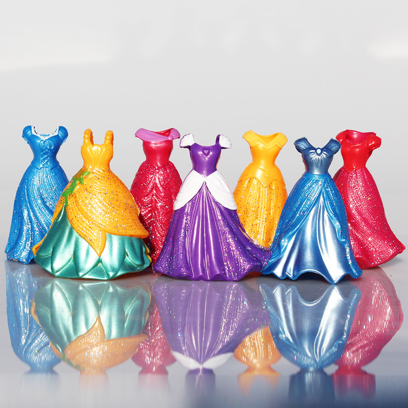 Lis 7pcs/Lot Princess Figure Snow White Ariel Rapunzel Merida Cinderella Aurora Belle Princess Sex Toy Kids Doll Dress SA487