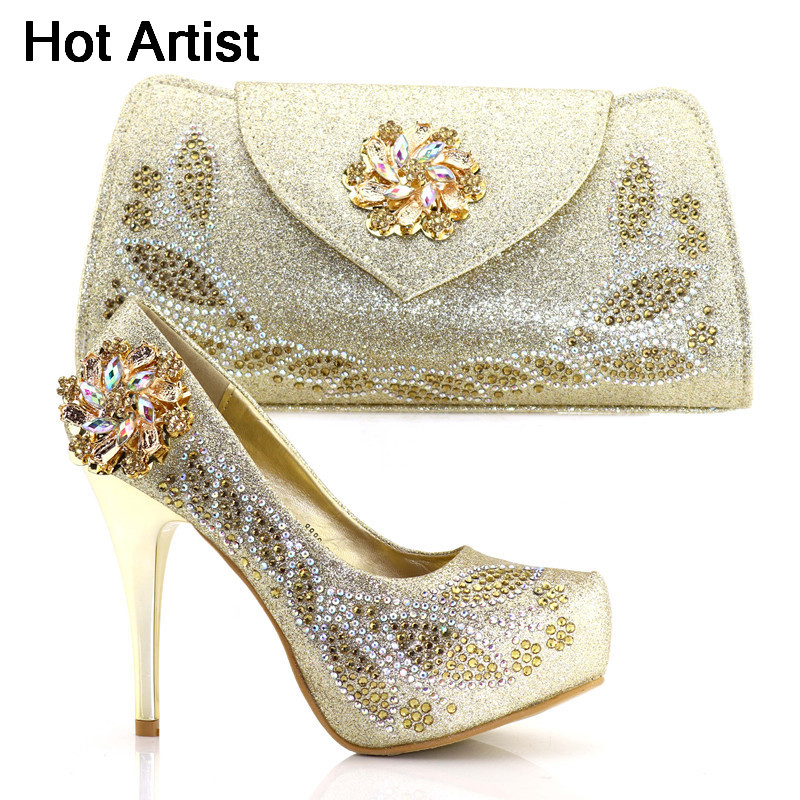 Hot Artist Nigerian Summer Rhinestone High Heels 12CM Shoes And Bag Set For Party African Woman Gold Shoes And Purse Set TX-62Hot Artist Nigerian Summer Rhinestone High Heels 12CM Shoes And Bag Set For Party African Woman Gold Shoes And Purse Set TX-62
