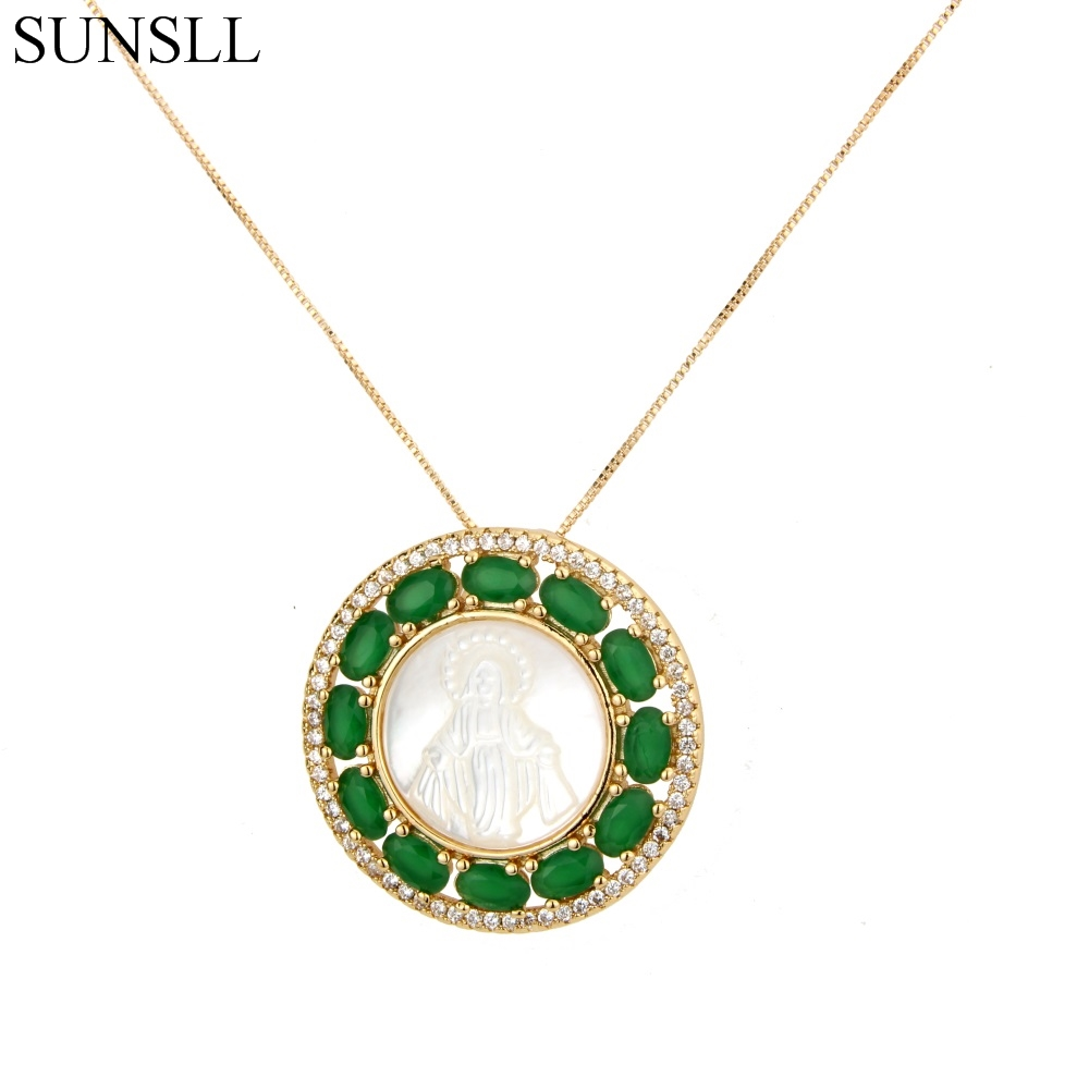 SUNSLL Gold Color Copper 3 Color Cubic Zirconia And Shell Round Pendant Necklaces Women's Fashion Jewelry CZ Colar Feminina