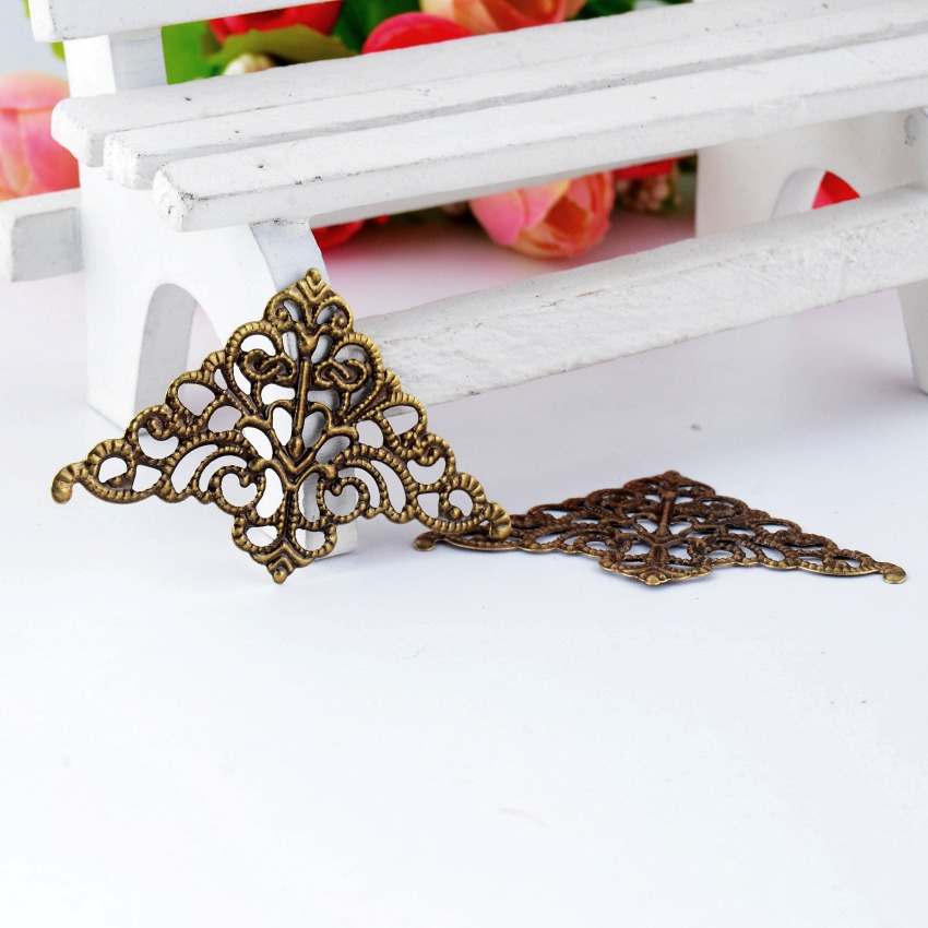 Free Shipping Retail 10Pcs Antique Bronze Filigree Wraps Connectors Metal Crafts Gift Decoration DIY Findings 5x3.2cm F0425