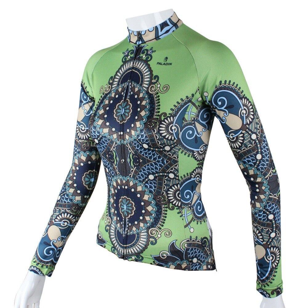 """팔라딘 """"녹색-신비한 장식 패턴""""여자 긴 소매 자전거 저지 자전거 셔츠 자전거 의류"""