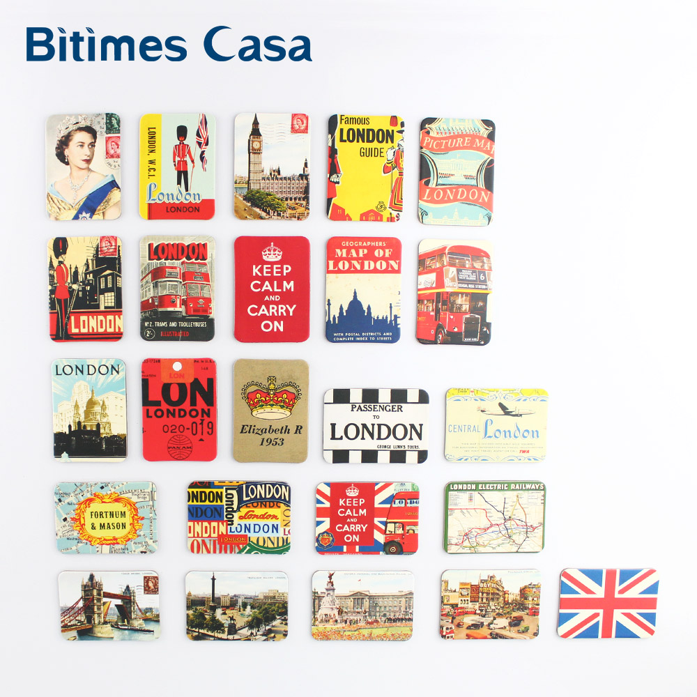 24 PCS Refrigerator Fridge Magnets UK England London Tower Bridge Home Decoration Set Travel Souvenir Queen Magnetic Stickers