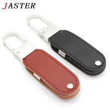 JASTER 100% real capacity metal leather keychain pendrive usb flash drive 32GB 8GB commercial Memory Stick Pendrives fashion
