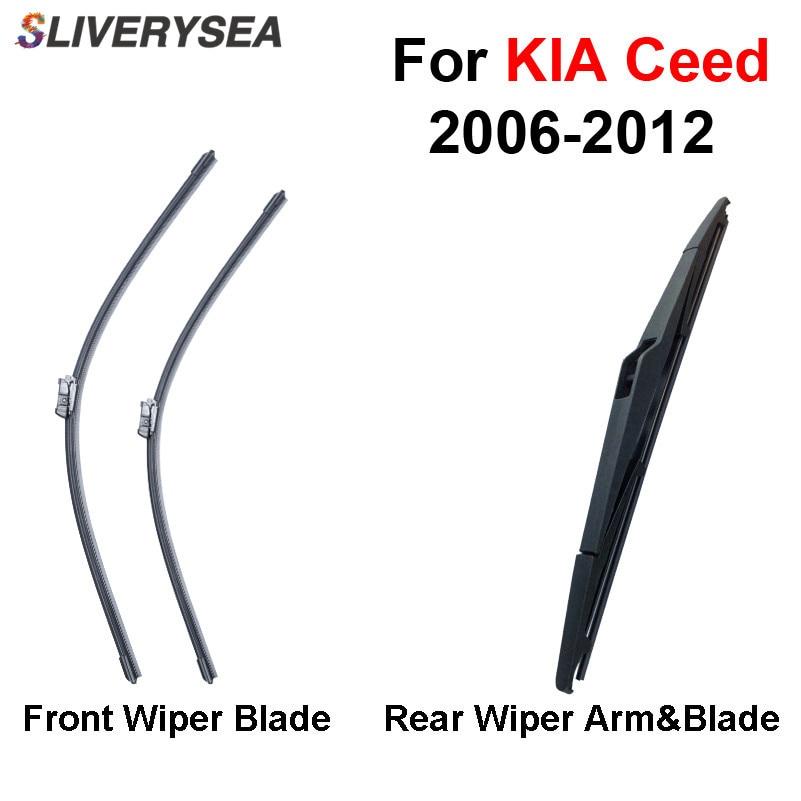 SLIVERYSEA Balai d'essuie-glace avant et arrière sans bras pour KIA Cee'd 2006-2012 Pare-brise en caoutchouc naturel de haute qualité 24 '' + 18 ''