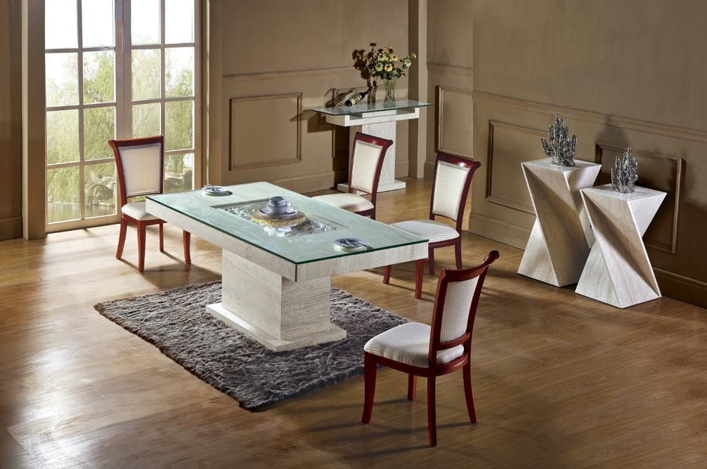 free shipping rectangle travertine dining table set high quality natural marble dining furniture rectangle table nb - Cheap Dining Tables