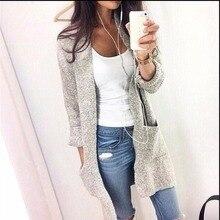 Осенне-зимняя Дамская обувь свободные Трикотажный кардиган свитер вязаная крючком пальто одноцветное топ леди модная одежда с длинным рукавом Свободные повседневные Пиджаки