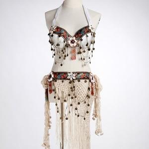 Image 2 - Tribal Oryantal Dans Kostümleri Vintage Paraları Sütyen Püskül Kemer Pantolon Kadın Tribal Top Giysileri 3 adet Set Kıyafet Seksi Işlemeli çingene