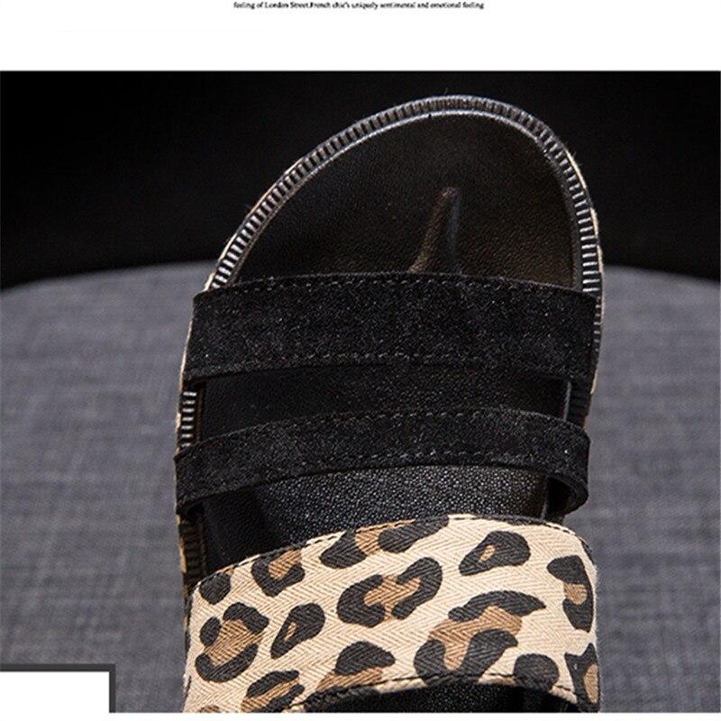 2019 Fashion Hot Selling Leopard open toe Buckle Casual women sandals Summer walking footwears middle heels sandalias mujer 18
